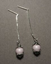 Pastel ROSE PINK Pearl on Silver Box Chain Stud Earrings       (8255)