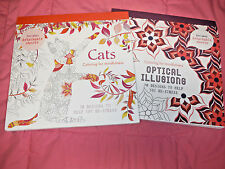 LOT OF 2 Books COLORING Colouring for Mindfulness Cats & Optical Illusions EUC