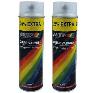 2 x Motip Matt Finish Clear Lacquer Varnish Acrylic Spray Paint Aerosol 500ml