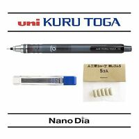 1 x Uni Kuru Toga Self Sharpening Mechanical Pencil Smoke + 12 Leads + 5 Erasers
