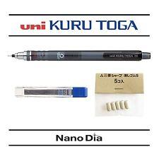 1 x Uni Kuru Toga Self Sharpening Mechanical Pencil Smoke + 12 Leads + 5 Erasers