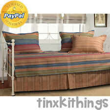 Guest Day Bed Quilt Set 5pc Skirt Pillow Sham Reversible Mattress Cover Room New