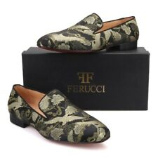 Men FERUCCI Black Slippers Loafers Flat With Gold Chinese Bird Printing