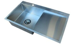 304 Handmade Stainless Steel Kitchen Sink Single Bowl with Drainer (86x 50cm)