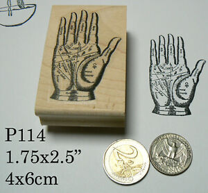 P114 Vintage hand reading rubber stamp