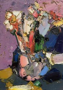 Original abstract painting oil on canvas board 5x7 in by Anastasiya Kimachenko