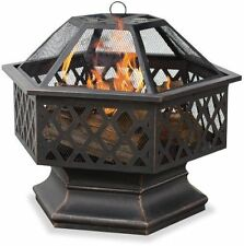 NEW UniFlame Hex Shaped Outdoor Fire Bowl with Lattice  Oil Rubbed Bronze