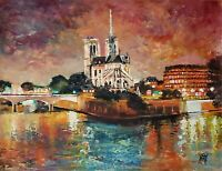 YARY DLUHOS ORIGINAL ART OIL PAINTING Notre Dame Paris France Seine River Night