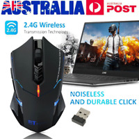 LED Wireless Gaming Mouse Ergonomic Optical 2400DPI For PC Laptop Rechargeable