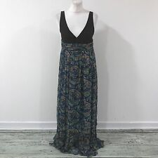 NEW SIMONA BARBIERI TWIN SET Brown Blue Paisley Maxi Dress Size M UK 10 12 17136