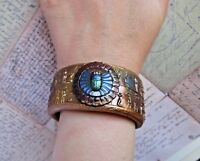 Handmade Ancient Egyptian Scarab Cuff Bracelet/ Antique Gold Bracelet