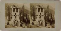 Davanti Una Casa IN Rovine Spagna Francia Foto Stereo Amateur Citrato c1900
