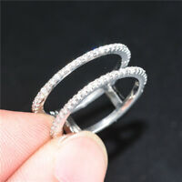 Elegant Women's Wedding Ring 925 Silver Jewelry White Sapphire Size6-10