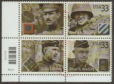 Scott #3393-96 Used Block of 4, Distinguished Soldiers W/PN's