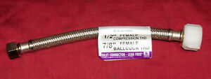 """9"""" Toilet Tank Connector Fluidmaster ½"""" to 7/8"""" Thread Commode Water Line Hose"""