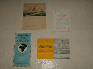 Union Castle Line  Warwick Castle 1950 Menu  Various Related Brochures Leaflets