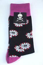 Lord R Colton Men's Black & Purple Floral Cotton Dress Socks - $28 Retail - New