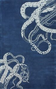 Octopus Tail Blue Modern Style Handmade Tufted 100% Woolen Rugs & Carpet