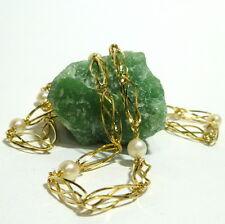 14k 14k Collar Collar cadena de oro ORO Collar de perlas 60cm