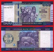 LIBERIA 500 Dollars dolares 2016 (2017) Serial AA Pick 36 SC / UNC