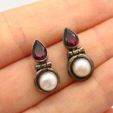 925 Sterling Silver Real Red Garnet Gemstone & Pearl Earrings