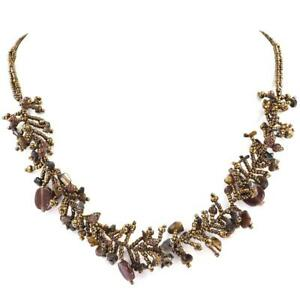"""20"""" GORGEOUS HANDMADE MIXED COPPER SEED BEADS MINERAL CHIPS necklace"""