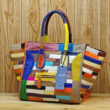 Women's Bag Luxury Genuine Leather Tote Colorful Blocks Patchwork Crossbody Bag