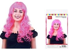 CARNEVALE HALLOWEEN PARRUCCA LUNGA MOSSA ROSA FLUO WIG LONG HAIR PINK FLUO DC