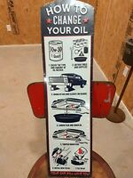 New vintage gas station style How To Change Your Oil 10W30 old car metal sign ⛽