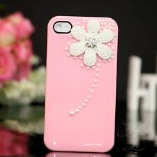 Apple iPhone 4 4S Hard Case Cover Hülle Etui Perlen Steine 3D Blume Rosa Weiß