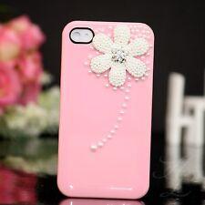 Apple iPhone 4 4S Hard Case Cover Hülle Etui Perlen Steine 3D Blume Rosa Weiß