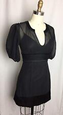 MARCIANO 100% SILK Black Sheer Short Sleeve Dress XS