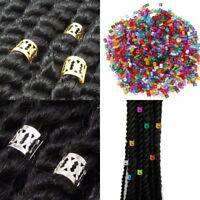 Lots 50pcs 8mm Gold Dreadlock-Beads Adjustable-Hair Braid Rings Cuff Clips Tube