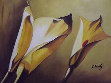 Amarillo Abstracto Lirios Flores Grandes Pintura al Óleo Lienzo Arte Tulipanes Tulipán Moderna