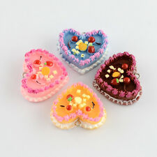 5pcs Food Resin Cake Pendants Mixed Color Sweet Lovely Heart Cakes Craft Charms