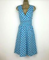 New Italian Dress UK Size 14 16 Aqua Blue Polka Dot Spotted Womens Flare