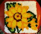 Vintage Latch Hook Kit Flower Completed Finished Wall Hippie Rug Pillow 13 X 13