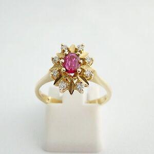 Ring Gold 585er Rubin Brillant Goldringe 14 kt Goldschmuck Diamanten Edelsteine