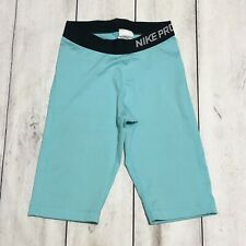 Nike Pro Dri-Fit Compression Short Capri Leggings Swoosh Turquoise Size Small