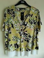 M&S SIZES 18 OR 24 GREEN MIX FLORAL SOFT STRETCH TOP TAGS FREE POST