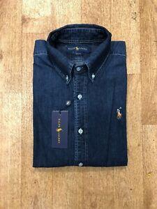 Ralph Lauren Men's Slim Fit Denim Shirt - Dark Wash Denim - XXL