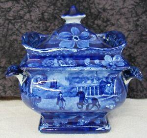 Antique Historical Staffordshire Mt. Vernon Dark Blue Transferware Sugar Bowl