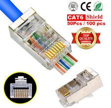 100pcs EZ RJ45 Pass Through Shielded Plug Network Cable Connector End 8P8C CAT6