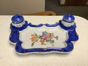 Antique Victorian Gold Gilded Floral Pattern Porcelain Dual Inkwell Desk Set