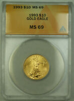 1993 $10 American Gold Eagle Coin AGE 1/4th Oz ANACS MS-69