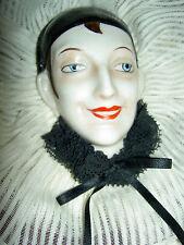 "Antique German china, ""Pierrot, Pierrette"" boudoir doll on TABU Dana powder box"
