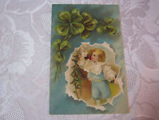 CLOVERS WITH CHILD HOLDING FLOWER  ANTIQUE 1909  POSTCARD  MADE IN GERMANY  T*