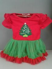 Spunky Kids one piece ruffled skirt Christmas outfit size 12-18 M 100% Cotton