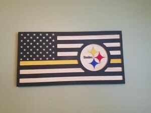 Steelers Flag Wood Plaque. (Can Put In Any Team With There Colors).