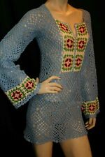XS~S HandMade Crochet 1970s BLUE Sheer Granny Square MINI Dress Bell Tunic Top